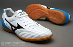 Mizuno Football Boots - Mizuno Neo Shin IN Boots - Indoor- Soccer Cleats - White-Black-Diva Blue