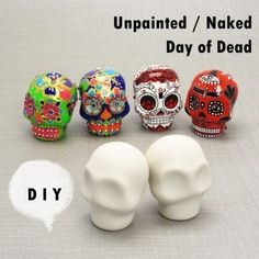 5 Pairs Skull Day of Dead Unpainted Naked Figurine Craft Handmade Gift