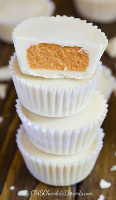 Easy but sweet autumn bites - White Chocolate Pimpkin Cups by OMGChocolateDesserts.com | #chocolate #pumpkin