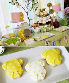 """Onesy-Cookies"" Love it! This baby shower could be for a girl or a boy!"