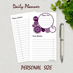 PERSONAL Planner Inserts, Daily Planner Printable, 2016 Daily Schedule, Agenda, Filofax Personal, Kikki K Medium, Weekly, Monthly Organizer