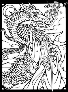 Dover Publications free sample coloring page - Wizards & Dragons...: