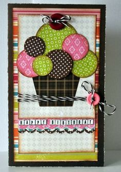 Cupcake Birthday Card...using circle punches to create the cute cupcake, baker's twine & button...by Jill Sargenson.