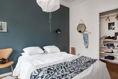 my scandinavian home: Love affair: St Pauls Blue and cognac (in a Swedish space) Blue Bedroom, Closet Bedroom, Bedroom Colors, Master Bedroom, Bedroom Decor, Closet Space, St Pauls Blue, Design Your Bedroom, Scandinavian Home