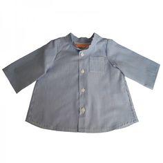 Chemise col mao GASPARD-devant-rayure bleu/blanc
