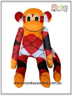 Orange Red Black White Argyle Sock Monkey  Adopt over at http://monkeyandme.com.au #sockmonkeys #gifts #toys