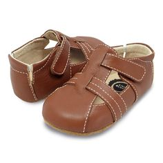 brown leather baby shoes for boys, pair