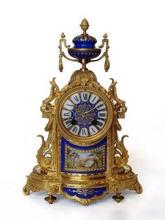 French porcelain and ormolu mantel clock (c. 1880 - France)