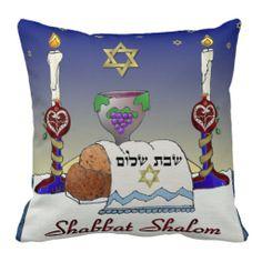 Judaica Shabbat Shalom Art Print Pillow by Lee Hiller