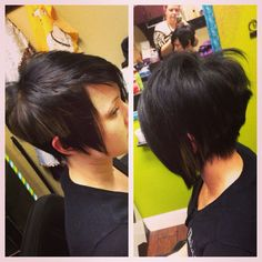 """The hottest shape in short hair today """"stacked"""" or 'graduated' back with longer front, top and crown - longer lengths are called a 'bob', shorter and it's a 'pixie'. This very flattering shape works on so many different face shapes, from long and thin to short and wide by adjusting the sides, crown and fringe to suit the individual."""