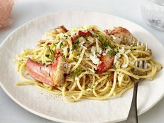 """We upgraded the classic pepper and cheese pasta dish with chunks of supple Maine lobster for an incredible dinner-for-two. Meaning, """"date night"""" needs to happen at home this week. Of course, this … Lobster Recipes, Seafood Recipes, Pasta Recipes, Cooking Recipes, Noodle Recipes, Fish Recipes, Lobster Pasta, Masterchef Recipes, Seafood"""