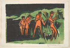 Ernst Ludwig Kirchner (German, 1880–1938). Bathers Throwing Reeds, 1909. The Metropolitan Museum of Art, New York. Janet Lee Kadesky Ruttenberg Fund, in honor of Colta Ives, 2012 (2012.201)