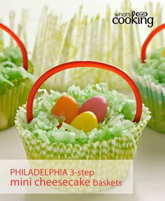 Prep these mini cheesecakes in just 15 min and you've got a delicious dessert for your Easter celebration. Tap or click photo for this PHILADELPHIA 3-Step Mini Cheesecake Baskets #recipe.