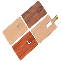 Wooden credit card USB drives: carry data in your wallet!
