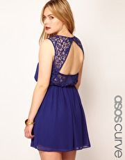 ASOS CURVE Skater Dress With Lace Back- In RED