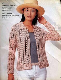Veronica crochet y tricot. Crochet Coat, Crochet Cardigan Pattern, Crochet Jacket, Crochet Blouse, Love Crochet, Filet Crochet, Irish Crochet, Crochet Clothes, Crochet Patterns