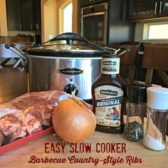 Today's recipe share is my favorite go-to recipe for country style ribs! These tasty ribs are a cinch to make with just a few ingredients and minutes to throw together - Easy Slow Cooker Barbecue Slow Cooker Ribs Recipe, Slow Cooker Bbq Ribs, Slow Cooked Meals, Best Slow Cooker, Slow Cooker Recipes, Crockpot Recipes, Cooking Recipes, Pork Meals, Boneless Ribs