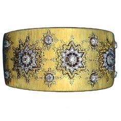 Buccellati 18 Karat White and Yellow Gold Diamond Cuff Bracelet.