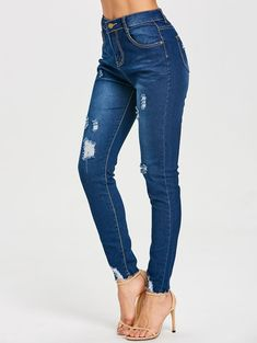 Skinny High Rise Frayed Ripped Jeans - DEEP BLUE M