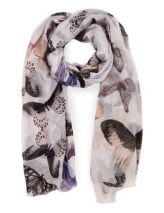 Blurred Butterfly Print Scarf | M&S