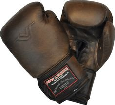 Ring Leader Golden Era Boxing Gloves.  I just love these gloves, they are our best seller and people really love them.  And they smell and feel exactly how you think they would - amazing.  And at that price?  WHAT??  We cost half of what the big guys charge for a similar glove (although there aren't too many out there) and I'd put this glove up against them any day.