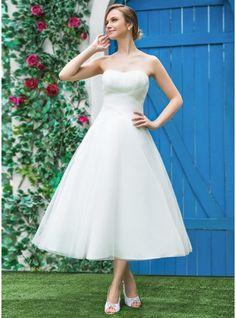 A-Linie/Princess-Linie Herzausschnitt Wadenlang Tüll Brautkleid mit Rüschen