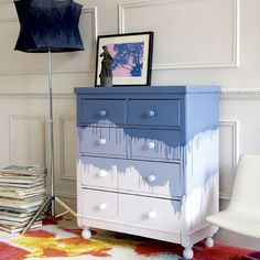 Stencils used sparingly are a fun way to highlight a feature like this decorative headboard. Gone are the days of smothering entire sur...