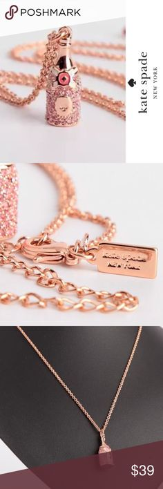 NWOT Kate Spade 🥂🍾 Make Magic Pendant NWOT, Excellent Condition Kate Spade Make Magic Champagne Pendant Necklace ♠️  Made with glass stones, enamel fill, and rose gold plated metal. Has Lobster claw closure. Kate Spade dust bag included! I wore this 1 time but it is basically brand new! Super cute! Perfect birthday gift or for someone special who is looking to celebrate! Cheers! 🍾🥂 kate spade Jewelry Necklaces