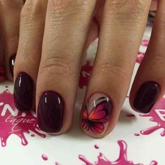 Autumn nails with a pattern Beautiful nails 2017 Butterflies on short nails Butterfly nail art Fall nail ideas Fall short nails Festive nails with a butterfly Maroon nails Maroon Nails, Burgundy Nails, Dark Nails, Purple Nails, Green Nails, Yellow Nails, Nail Art Design Gallery, Best Nail Art Designs, Fall Nail Designs