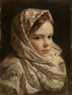 "Russian School (19th Century), ""Portrait of a Girl"", believed to be one of the studies for ""The Destruction of the Novgorod Veche"" by Klavdy Lebedev"