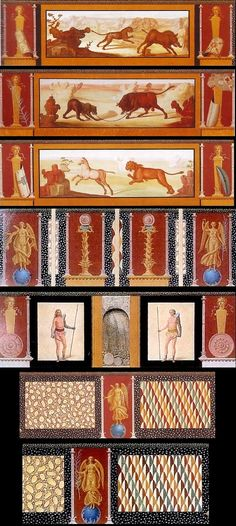 During the excavation of the Pompeian amphitheatre, frescoes were visible on the wall of the arena, but they soon disappeared. Fortunately the painter Francesco Morelli made these copies of them.