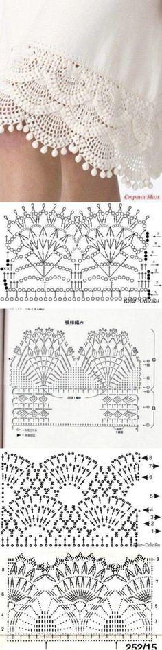New Crochet Stitches Diagram Lace Knitting Ideas Crochet Edging Patterns, Crochet Lace Edging, Crochet Borders, Crochet Diagram, Crochet Trim, Crochet Designs, Crochet Stitches, Knitting Patterns, Diy Crochet