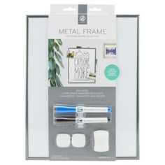 """Ubrands Dry Erase Board with Silver Metal Frame, Magnetic with 2 Dry Erase Markers, 2 Magnets, and 1 Eraser, 11"""" x 14"""""""