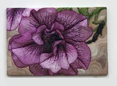 """Purple Petunias II """"Art Concentrated"""" art quilt by Barbara Barrick McKie, only 4 x in size, but lovely. Petunia Tattoo, Fabric Painting, Fabric Art, Thread Painting, Petunia Flower, Purple Petunias, Cat Quilt, Quilt Art, Landscape Art Quilts"""