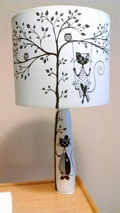 Handmade lamp. Ceramic base, acrylic painting. Plastic,fabric,arylic paint lamp shade