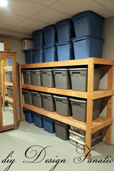 Basement Shelving - we have done this with old paper boxes (you know the ones that have about twelve smaller sections of printer paper in them) instead...much cheaper and still effective!