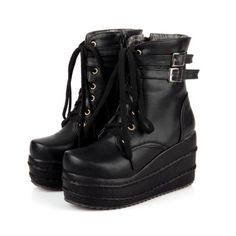 95e89fa01f690 Women's Platform Wedges Lace Up Ankle Boots High Heels Punk Goth Creepers  Shoes