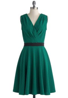 Clubhouse Soda Dress - Green, Black, Stripes, Party, A-line, Sleeveless, V Neck, Mid-length, Knit