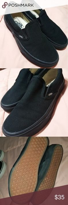 Slip on black vans Brand new. All black. Perfect condition. Vans Shoes
