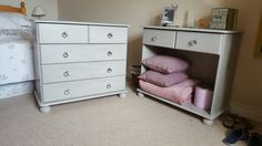 Upcycled pine furniture with rustoleum flint and crystal knobs