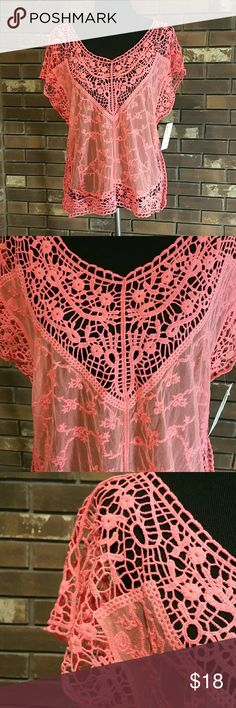 Mesh and lace sheer dolman tee 70053 A fun and feminine topper perfect for summer layering . Color is a bright coral. Vanity Tops Blouses