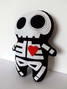 Skeleton Plush Sugar Skull Doll by TheDollCityRocker on Etsy