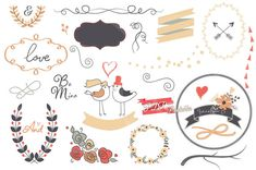 Collection of 34 designer wedding clipart graphics with a vintage feel: very useful for creating cards, invitations, posters, photography work, art