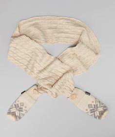Look at this #zulilyfind! Winter White Snowflake Mitten Scarf by MUK LUKS #zulilyfinds