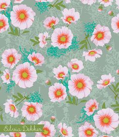 The Cosmos flowers that grow in her garden are in this new pattern by www.silviadekker.nl