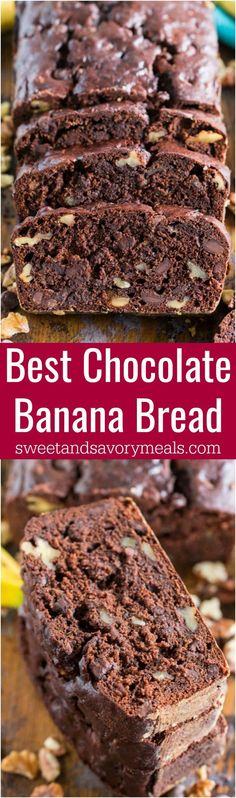 Chocolate Banana Bread is the best banana bread you will ever have! Incredibly tender, moist and flavorful, loaded with chocolate chips and crunchy walnuts! #chocolate #banana #bananabread