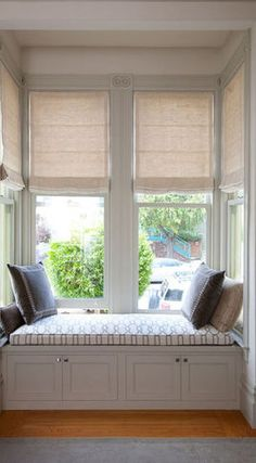 Curtains Ideas blinds and curtains for bay windows : Window treatments, roman shades | Roman blinds in a square bay ...