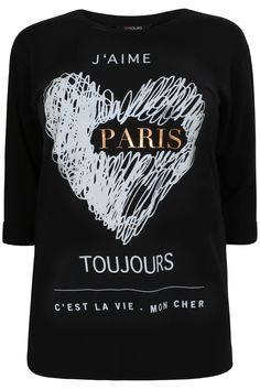 Black 3/4 Length Sleeve Sweat Top With Paris Scribble Print Plus size 16,18,20,22,24,26,28,30,32