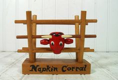 Primitive Wooden Napkin Holder with Red Bull Head  by DivineOrders, $11.00