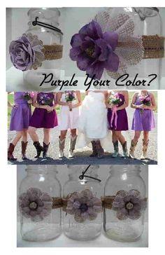 12 Mason Jar Wedding Purple Plum Decorations Burlap Shabby Country Chic Rustic by Susan Peffer Rhodes
